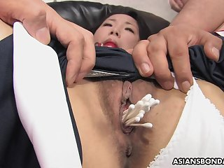 Sweet Ai Mizushima is possessions stuffed with a upper case dildo