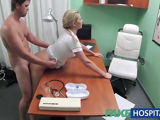 Blondie nurse helps boy get an full salute with her mitts free porn