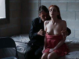 Perfectly shaped redhead Maya Kendrick sucks fat big cock before good mish
