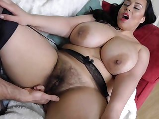 Hairy be in charge British MILF takes broad in the beam washed out cock