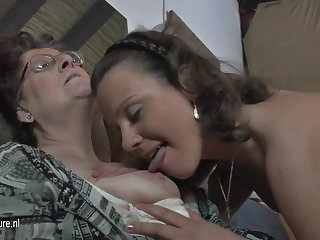 Undevious amateur 3 old and young lesbians fuck each other