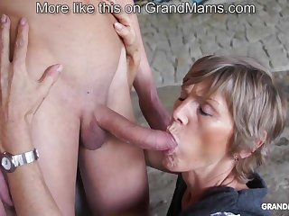Marketable old cougar tapes up her young toyboy and sucks him off