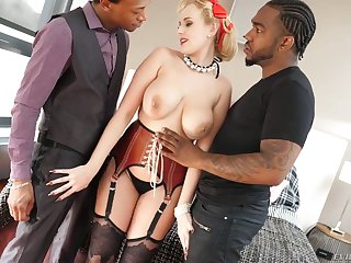 White hooker Angel Wicky gets double penetrated by two horny black guys