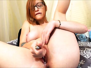 Unparalleled redhead slut toys and fingers her holes