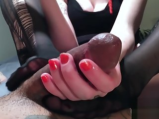 Accidental Creampie From Footjob Edging Teasing Kissing Cock Turned To Sex!