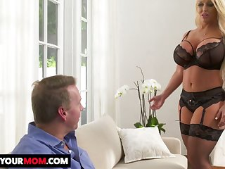 Mouth watering giant breasted MILF Alura TNT Jenson gets her twat stretched