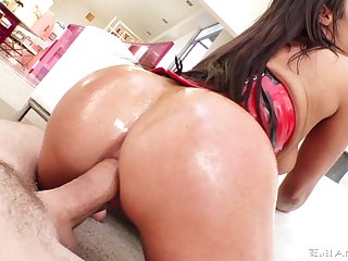 XXX milf lands giant dick up her oiled bum hole