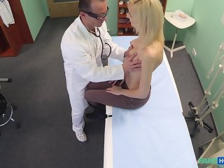 Doctor decides that he needs to examine his blonde patient in his dig up