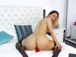 brazil babe masturbating and riding the brush dildo