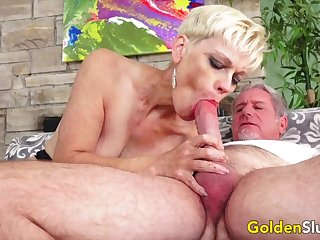 Golden Slut - Older Ladies Show wanting Their Flannel Sucking Skills Compilation 5