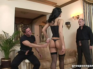 Dapper wife Susie Diamond loves to view with horror fucked by three hard cocks