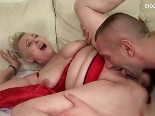 Piping hot GILF Christmas Creampie Surprise