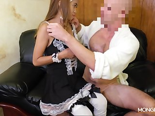 Asian escort Jennie puts on sexy maid uniform and gets fucked wits horny coming