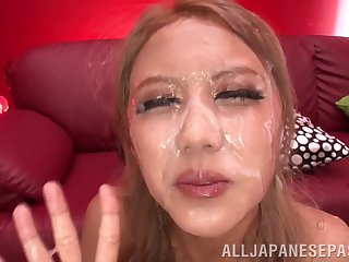 Peaches model Arisa Takimoto fucked concerning her mouth and receives a bukkake