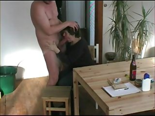 Grandma suck dick on her knees make him cum with handjob