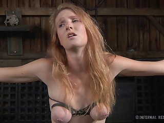 Redhead chick Ashley Lane tied up and poked adjacent to sex toys