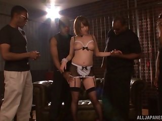 Chubby Japanese Narumiya Harua enjoys having sex with black dudes