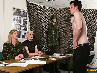 Naked baffle shows his consolidated dick fro Holly Pat and Sally Cream