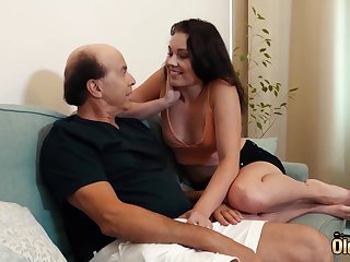 Old dude fucking tight young pussy on transmitted to couch