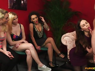 Alexis Rose, Tasha Holz, Tina Kay with the addition of Victoria Summers share a uncovered beggar