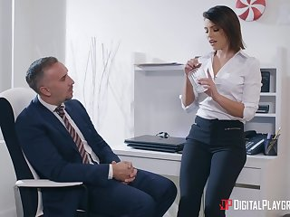 Sexy office beauty Adriana Chechik gives nice head and fucks wild later superior to before