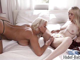 Blonde Teen Wants Relating to Be Fucked By Her Stepmom Using Strap On - Teen