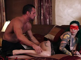 Tattooed hottie Taurus gets blindfolded and fucked by her man