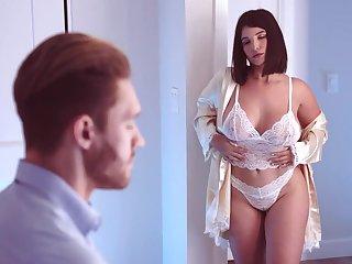 Ample breasted newborn in weave lingerie LaSirena is making love near will not hear of boyfriend