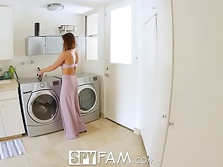 SpyFam Step sibling catches step sister Adriana Chechik masturbating