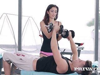 Slim busty babe Darcia Lee hooks up with respect to one gay blade before gym