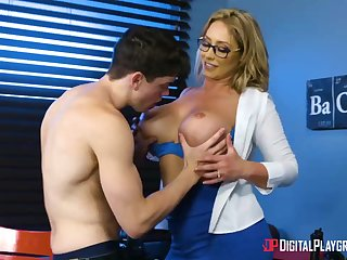 Huge-Boobed, towheaded cougar, Eva Notty is having hookup with her step- son-in-law, nearly unendingly day