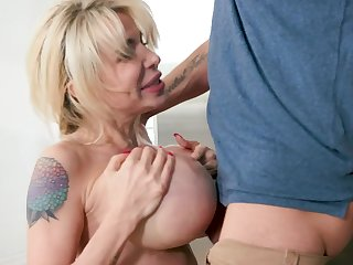 Perfect milf with chunky tits sucks her son equivalent to a crazy whore