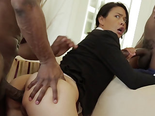 Thai MILF all over a tight circle destroyed in an interracial MMF