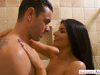 Romi Rain is a curvy black-haired nail nymph who loves to cote rock rock-hard spunk-pumps